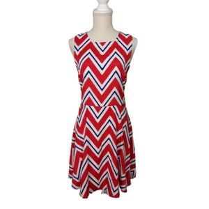 Everly Red, White and Blue Chevron Print Dress
